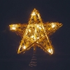 "Item # 100591 - 9"" Gold Rattan Star Tree Topper With 10 Lights"