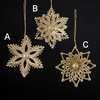 Item # 101080 - Champagne/Gold Snowflake Ornament