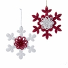 Item # 101270 - Red/White Glitter Snowflake Ornament