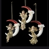 Item # 101354 - Gold Musical Angel On Santa Moon Ornament