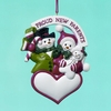 "Item # 101370 - 4.25"" Resin Proud New Parents Snowman Ornament"