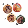 Item # 102107 - Flat Capiz Horse Disc Christmas Ornament