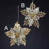 "Item # 102137 - 5.7"" Gold/Silver Poinsettia Christmas Ornament"