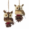 "Item # 102435 - 4"" Natural Owl Christmas Ornament"