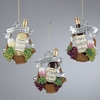 Item # 102547 - Wine Bottle With Grapes In Basket Ornament