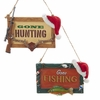 "Item # 102833 - 4"" Gone Hunting/Fishing Sign Christmas Ornament"