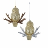 Item # 102840 - Gold/Platinum Glittered Owl Ornament