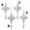 Item # 102874 - Silver/White Glittered Snowflake With Drop Ornament