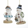 "Item # 102884 - 3.75"" Resin Beach Snowman Christmas Ornament"