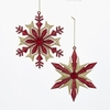 Item # 102906 - Glittered Red/Gold Snowflake Ornament