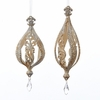 Item # 103063 - Ivory/Gold/Silver Glittered Oval Ball Ornament