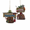 "Item # 103287 - 3.25-3.75"" Fishing Sign With Creel Christmas Ornament"