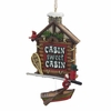 """Item # 103291 - 4.25"""" Resin Cabin Sign With Boat Christmas Ornament"""
