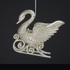 "Item # 103692 - 4"" Acrylic Platinum Swan On Sled Ornament"