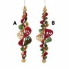 "Item # 103744 - 7"" Glittered Gold/Green/Red Icicle Christmas Ornament"
