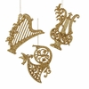 "Item # 103825 - 5-5.5"" Glittered Gold Musical Instrument Ornament"