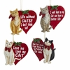 "Item # 104302 - 3.75"" Resin Kitty With Heart Christmas Ornament"