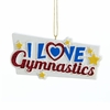"Item # 104374 - 4"" Resin I Love Gymnastics Christmas Ornament"