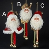 Item # 105182 - Red/Green/Gold Santa Head With Bells Christmas Ornament