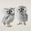 Item # 105703 - Furry Gray Owl Ornament - 2 Piece Set