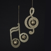 Item # 105805 - Gold Glitter Musical Note With Bells Ornament