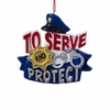 "Item # 105994 - 3.375"" Resin Police Sign Christmas Ornament"