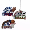 "Item # 106015 - 3.5"" Resin Football/Soccer/Basketball Rocks Christmas Ornament"