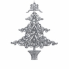 "Item # 106046 - 6"" Acrylic Glittered Silver Tree Ornament"