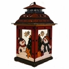 Item # 127307 - Red Lantern With Two Snowmen, Trees, Gingerbread, & Gifts Sit Around