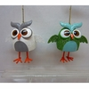 Item # 146114 - White/Green Owl With Glitter Christmas Ornament
