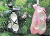 "Item # 146804 - 4"" Glass Black/Pink Ballet Shoes Christmas Ornament"