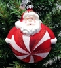 "Item # 146841 - 4"" Glass Glittered Candy Swirl Santa Ornament"