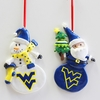 Item # 146987 - West Virginia University Mountaineers Snowman/Santa Christmas Ornament
