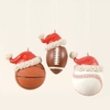 Item # 177546 - Basketball/Football/Baseball With Santa Hat Christmas Ornament