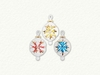 Item # 186046 - Glass Clear/Red/Yellow/Blue Starburst Egg Ornament