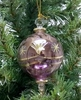 Item # 186053 - Glass Purple Etched Ball With Twisted Drop Ornament
