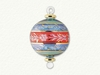 Item # 186055 - Glass Red/Blue/Green/Gold Floral Etched Striped Ball Ornament