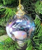 Item # 186068 - Blue Floral Etched Ball With Drop Ornament