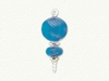 Item # 186259 - Glass Blue Curved Ball With Flat Disc & Twist Drop Ornament