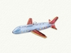 Item # 186290 - Glass Red/Blue/Gold Airplane Ornament