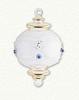 Item # 186350 - Glass Clear/Blue/Gold Etched Ball With Drop Ornament
