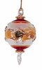 Item # 186905 - Glass Christmas Red/Gold Etched Ball With Twist Drop Ornament