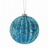 "Item # 203112 - 4"" Blue Glittered Ridged Ball Ornament"