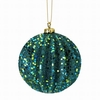 "Item # 203117 - 4"" Peacock Glittered Ridged Ball Ornament"