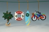 Item # 207270 - Palm Tree/Lifesaver/Surfboard/Bicycle Christmas Ornament
