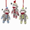 Item # 261444 - Fabric Small Sock Monkey Christmas Ornament