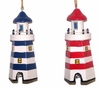 Item # 294119 - Wooden Six Sided Blue & White/Red & White Lighthouse Christmas Ornament