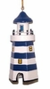 Item # 294119 - Wooden Six Sided Blue & White Lighthouse Ornament