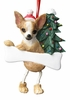 Item # 407002 - Resin Fawn Chihuahua Dangle Christmas Ornament