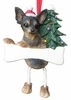 Item # 407006 - Resin Black/Tan Chihuahua Dangle Christmas Ornament